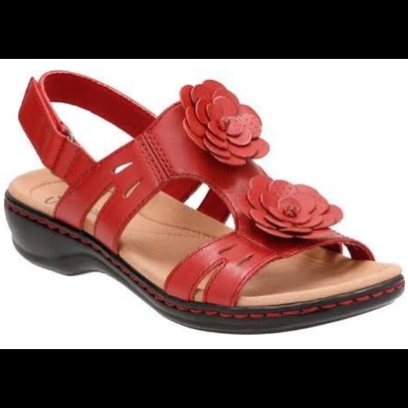 ecab9518be7 Clarks Shoes - Clark s - Leisa Clayton red leather flower sandals